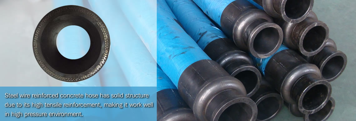Many steel wire reinforced concrete hoses are on the floor and the cross section of steel wire reinforced concrete hose.