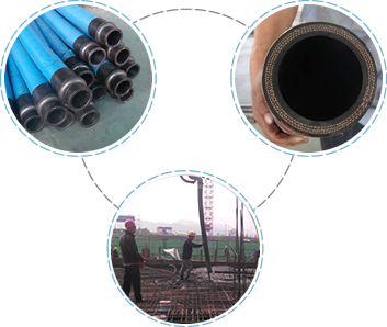 Many fabric reinforced concrete pump hoses are on the floor, the cross section of hose, several persons are pouring concrete to the roof.