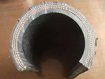 The cross section picture of fabric reinforced concrete placement hose.